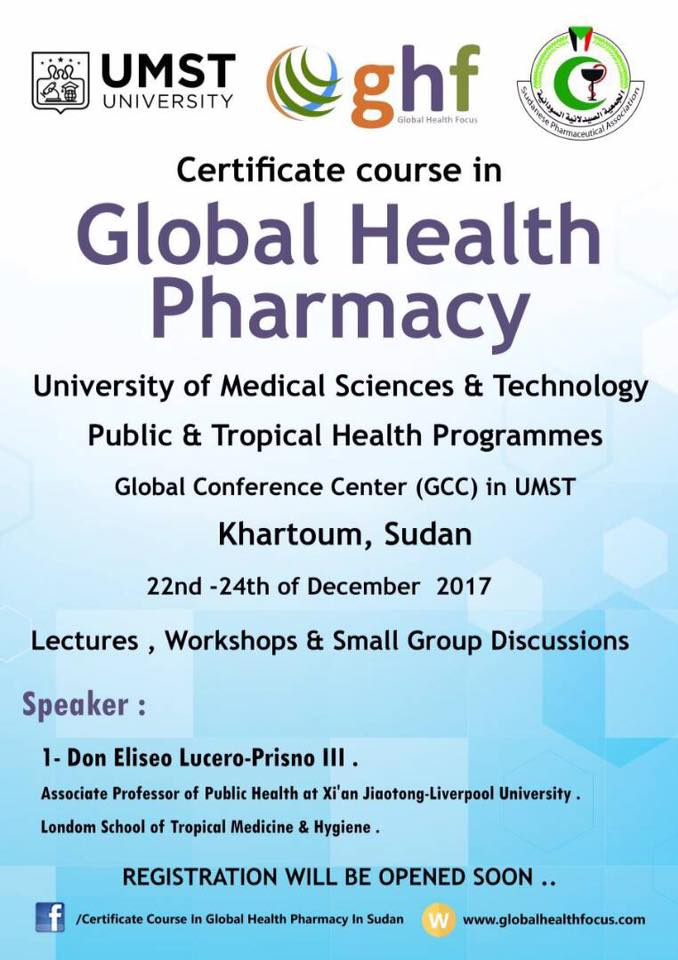 Global Health Pharmacy Sudan 2017 Certificate Course Category