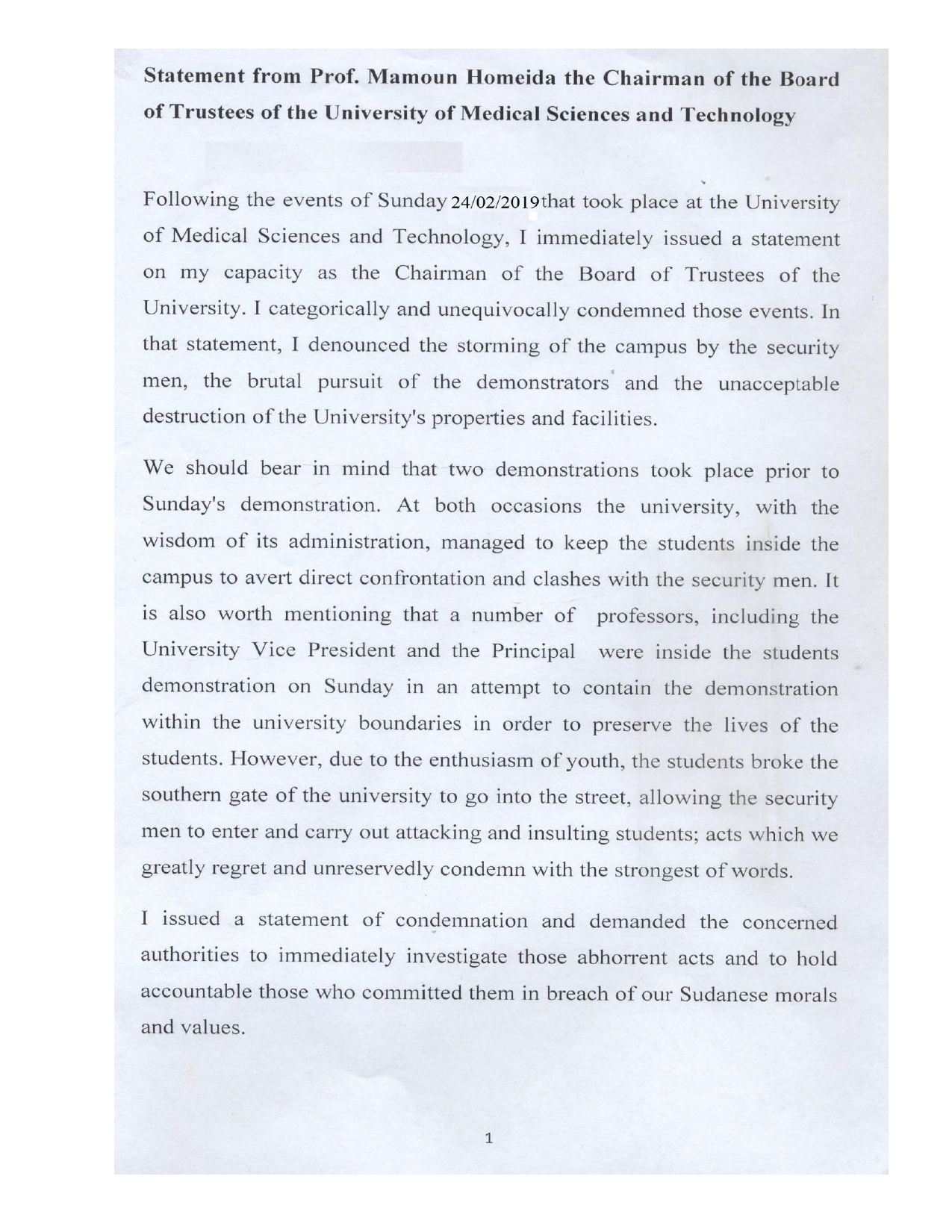 Statement from Prof Homeida about UMST on 24-02-2019