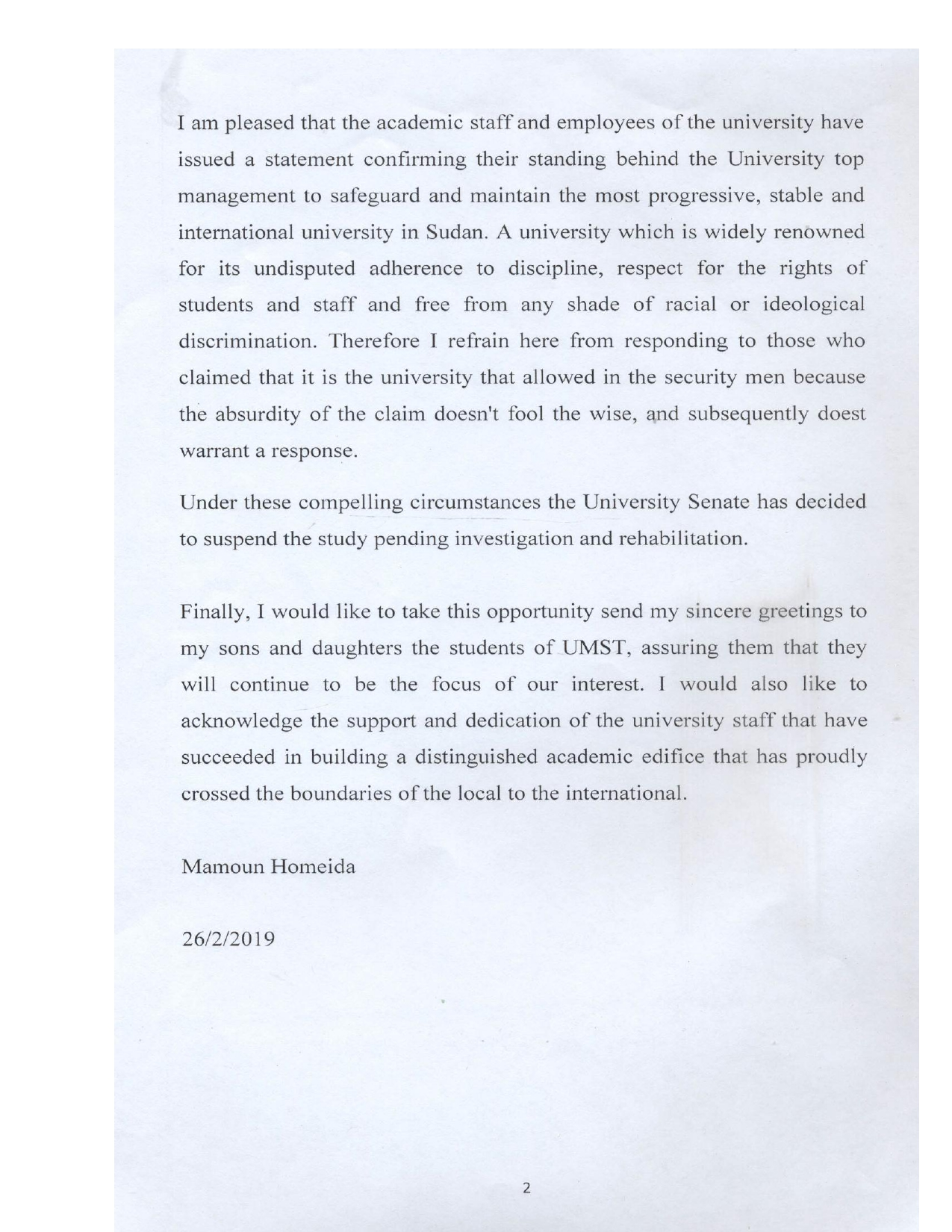 Statement from Prof Homeida about UMST on 24-02-20192